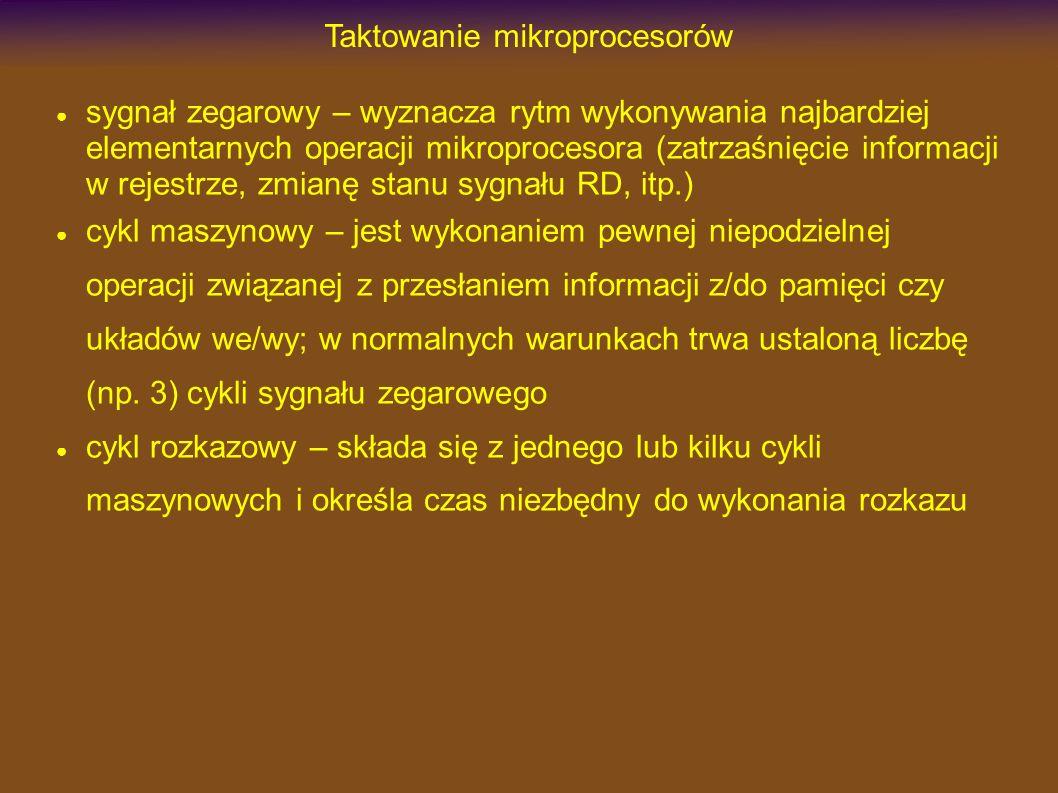 Niskie częstotliwości taktowania Zależność prądu zasilania od częstotliwości taktującej I CC [mA] f OSC [MHz] Max Active Mode Typ Active Mode Max Idle Mode Typ Idle Mode I CC(MAX) = 1.0mA + 0.9mA x f OSC [MHz]