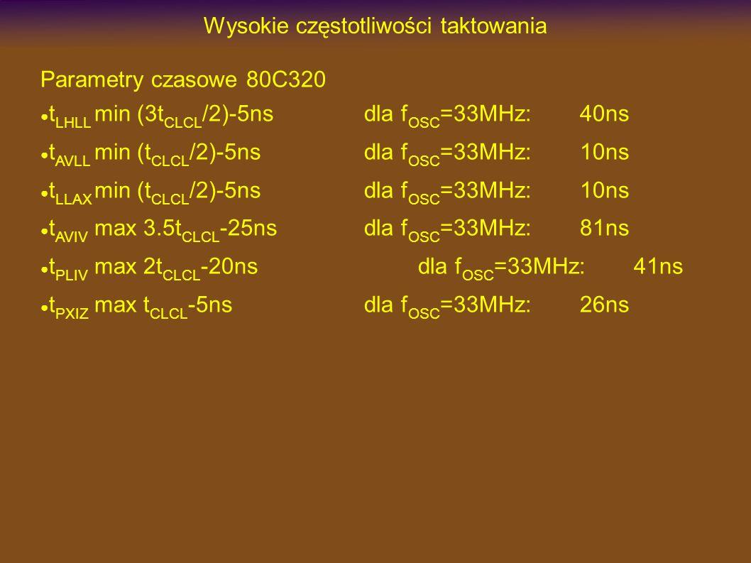 Wysokie częstotliwości taktowania Parametry czasowe 80C320 t LHLL min (3t CLCL /2)-5nsdla f OSC =33MHz:40ns t AVLL min (t CLCL /2)-5nsdla f OSC =33MHz