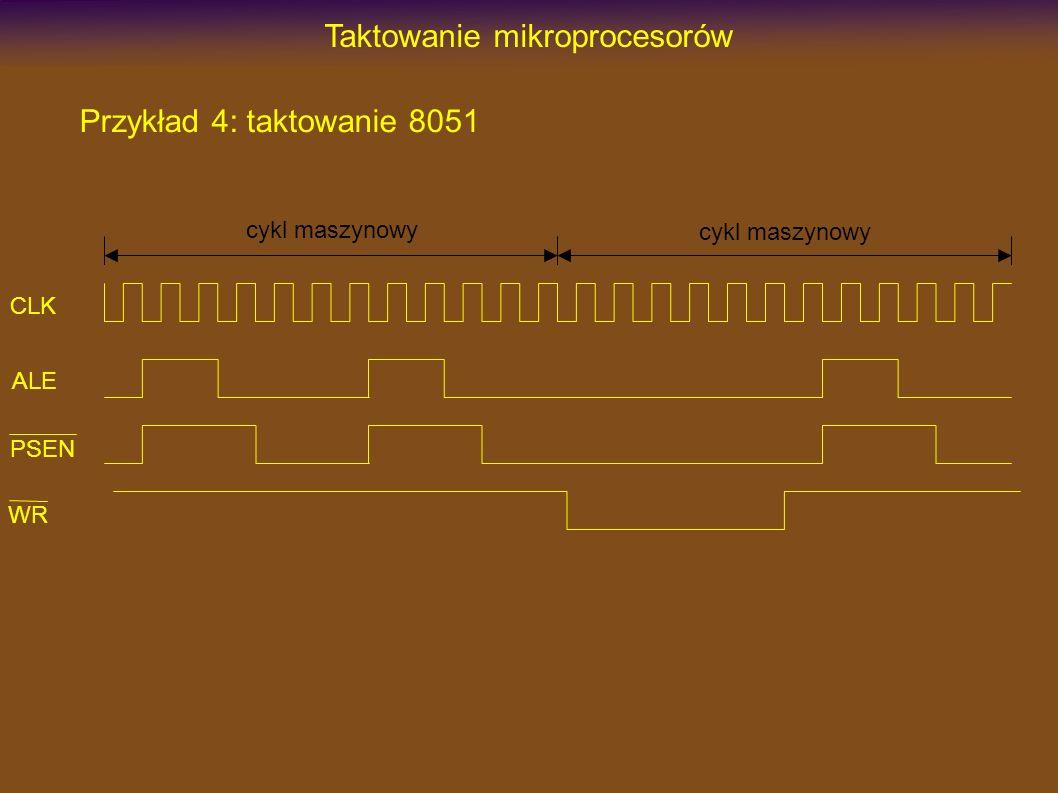 Układy taktowania mikroprocesorów Metody taktowania mikrokontrolerów: wbudowany generator + rezonator kwarcowy wbudowany generator + rezonator ceramiczny wbudowany generator + układ RC wbudowany generator bez elementów zewnętrznych generator zewnętrzny