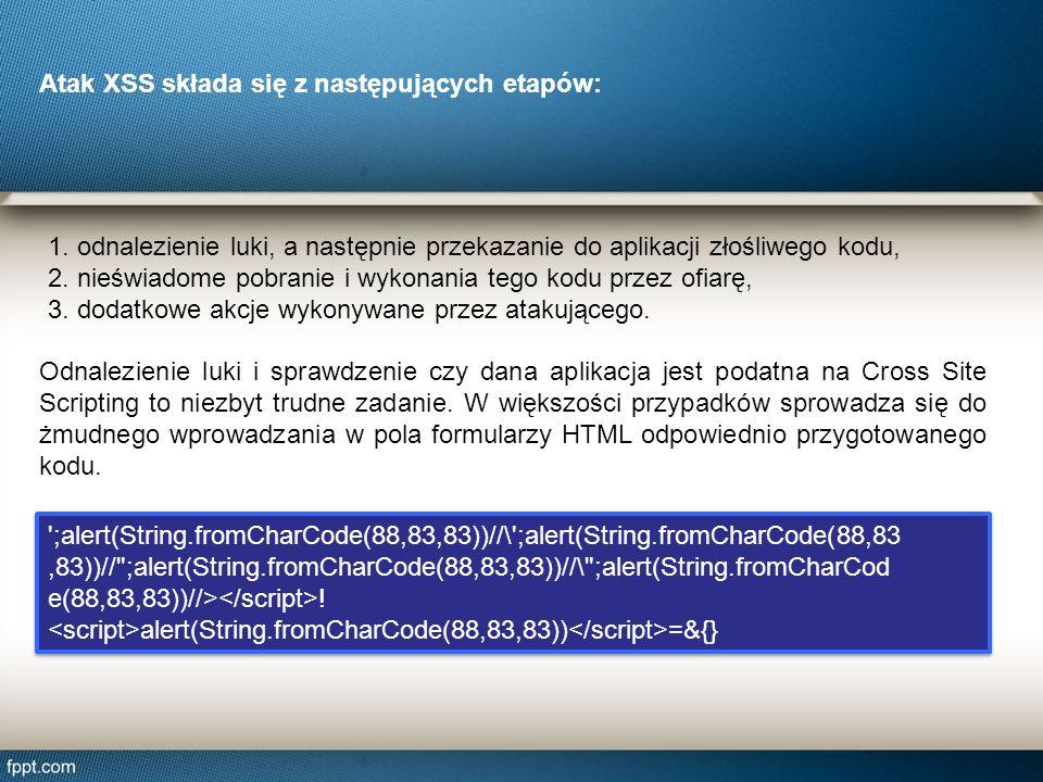 1. odnalezienie luki, a następnie przekazanie do aplikacji złośliwego kodu, 2. nieświadome pobranie i wykonania tego kodu przez ofiarę, 3. dodatkowe a