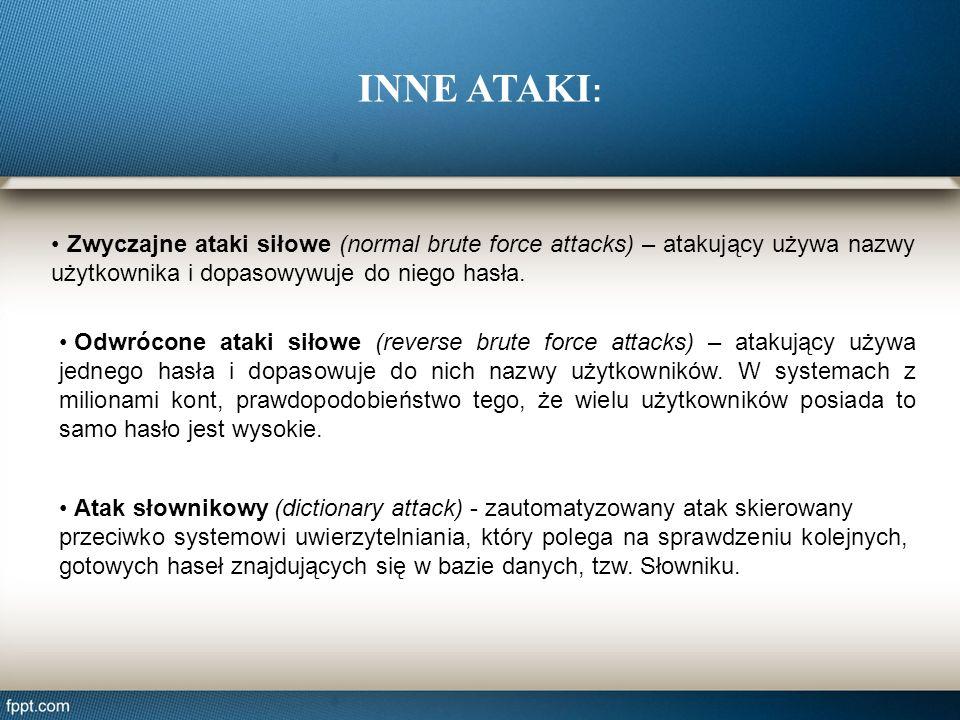 Zwyczajne ataki siłowe (normal brute force attacks) – atakujący używa nazwy użytkownika i dopasowywuje do niego hasła. Odwrócone ataki siłowe (reverse