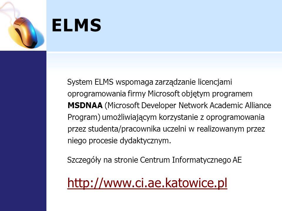 ELMS System ELMS wspomaga zarządzanie licencjami oprogramowania firmy Microsoft objętym programem MSDNAA (Microsoft Developer Network Academic Allianc