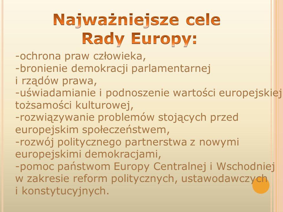 -ochrona praw człowieka, -bronienie demokracji parlamentarnej i rządów prawa, -uświadamianie i podnoszenie wartości europejskiej tożsamości kulturowej