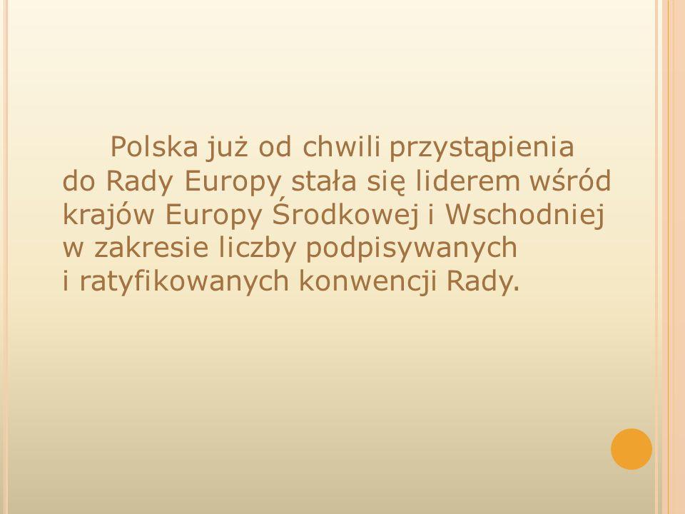 Polska już od chwili przystąpienia do Rady Europy stała się liderem wśród krajów Europy Środkowej i Wschodniej w zakresie liczby podpisywanych i ratyf