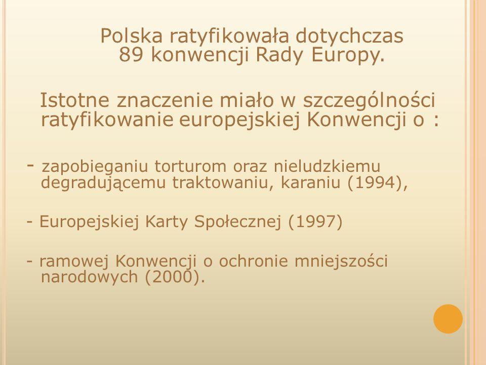 Polska ratyfikowała dotychczas 89 konwencji Rady Europy. Istotne znaczenie miało w szczególności ratyfikowanie europejskiej Konwencji o : - zapobiegan