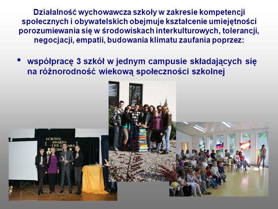 Działalność wychowawcza szkoły w zakresie kompetencji społecznych i obywatelskich obejmuje kształcenie umiejętności porozumiewania się w środowiskach