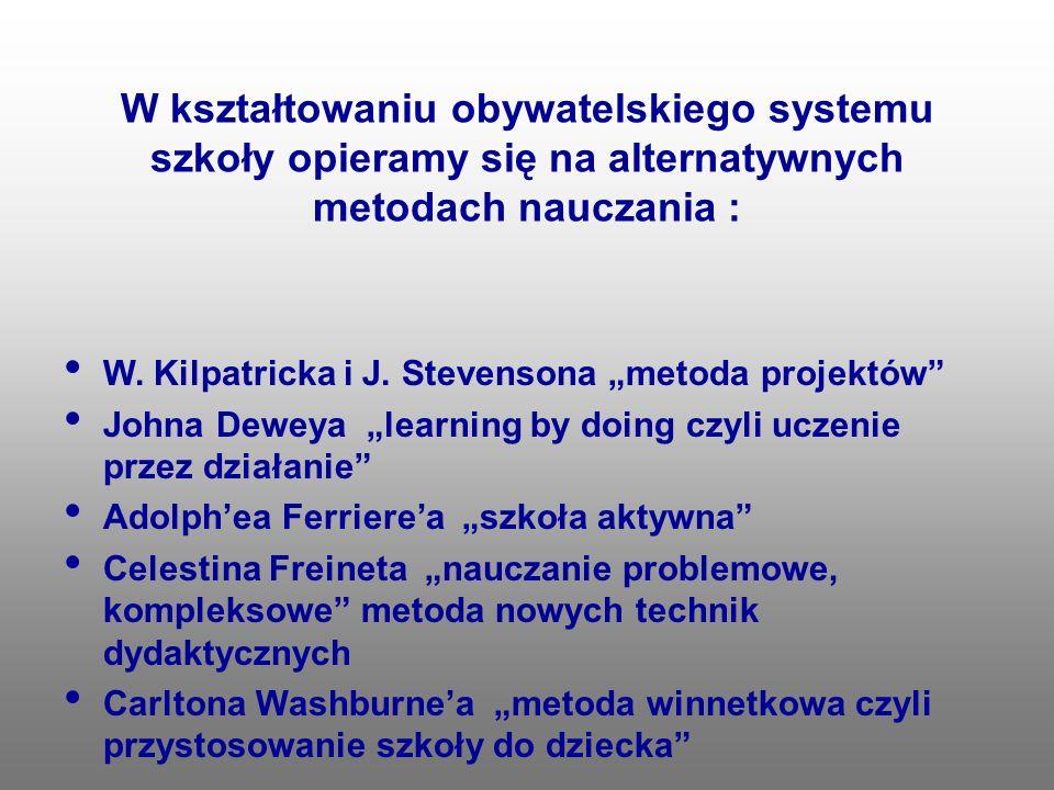 W kształtowaniu obywatelskiego systemu szkoły opieramy się na alternatywnych metodach nauczania : W. Kilpatricka i J. Stevensona metoda projektów John