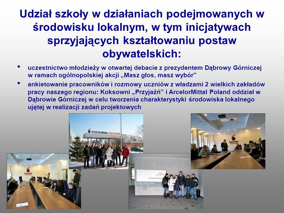 Udział szkoły w działaniach podejmowanych w środowisku lokalnym, w tym inicjatywach sprzyjających kształtowaniu postaw obywatelskich: uczestnictwo mło
