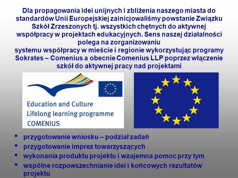 Dla propagowania idei unijnych i zbliżenia naszego miasta do standardów Unii Europejskiej zainicjowaliśmy powstanie Związku Szkół Zrzeszonych tj. wszy