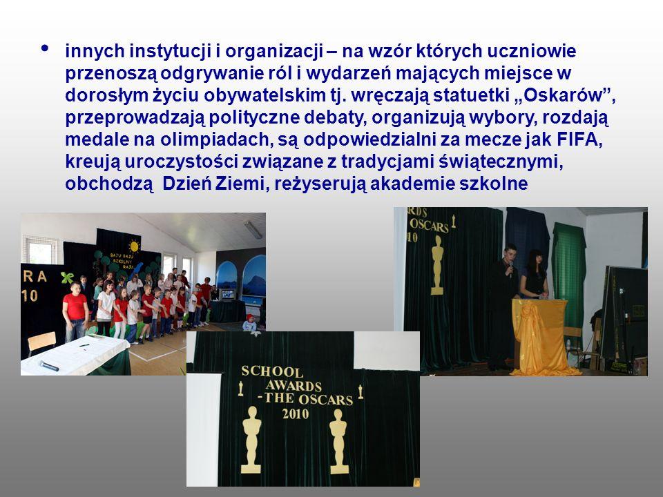 innych instytucji i organizacji – na wzór których uczniowie przenoszą odgrywanie ról i wydarzeń mających miejsce w dorosłym życiu obywatelskim tj. wrę