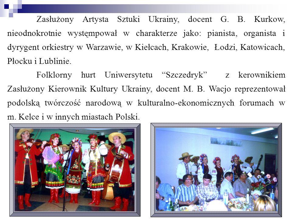 Zasłużony Artysta Sztuki Ukrainy, docent G. B. Kurkow, nieodnokrotnie wystęmpował w charakterze jako: pianista, organista i dyrygent orkiestry w Warza