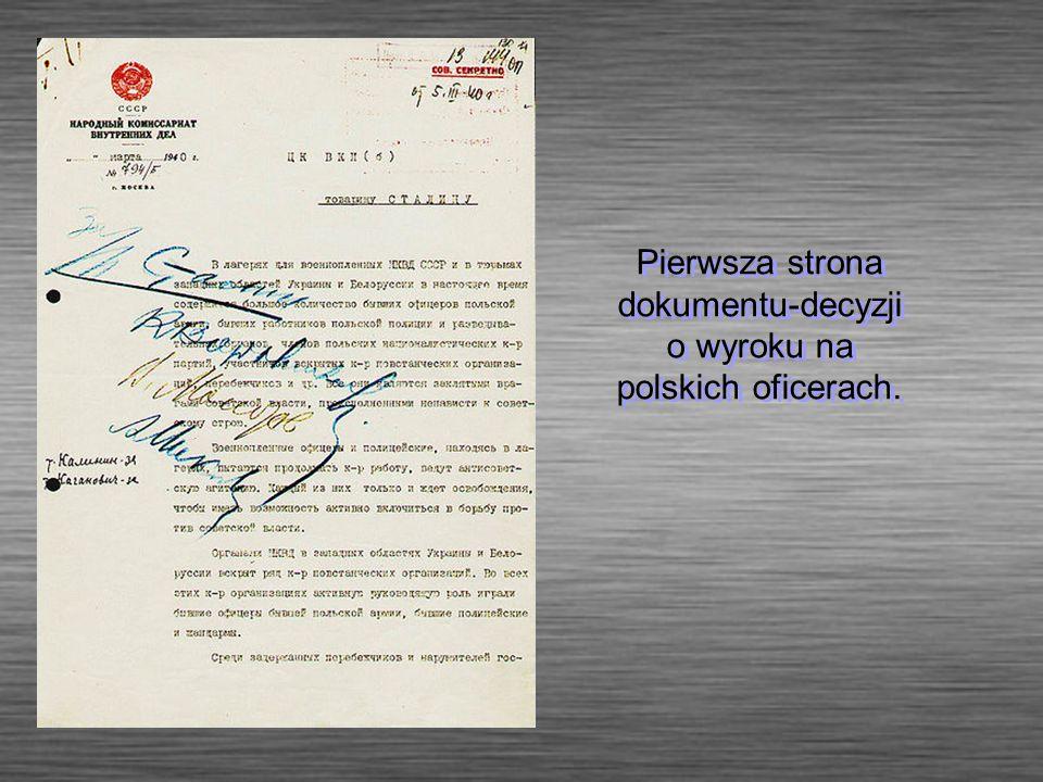 Pierwsza strona dokumentu-decyzji o wyroku na polskich oficerach.
