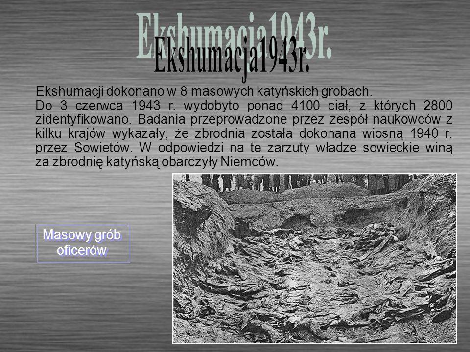 Ekshumacji dokonano w 8 masowych katyńskich grobach. Do 3 czerwca 1943 r. wydobyto ponad 4100 ciał, z których 2800 zidentyfikowano. Badania przeprowad