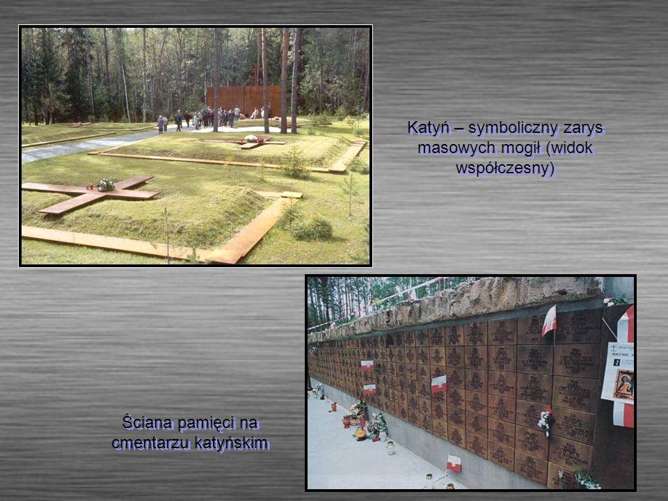 Ściana pamięci na cmentarzu katyńskim Katyń – symboliczny zarys masowych mogił (widok współczesny)
