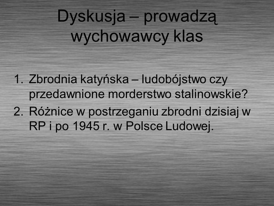 Dyskusja – prowadzą wychowawcy klas 1.Zbrodnia katyńska – ludobójstwo czy przedawnione morderstwo stalinowskie? 2.Różnice w postrzeganiu zbrodni dzisi