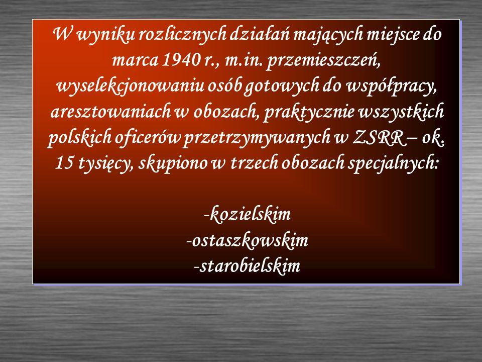 W wyniku rozlicznych działań mających miejsce do marca 1940 r., m.in. przemieszczeń, wyselekcjonowaniu osób gotowych do współpracy, aresztowaniach w o