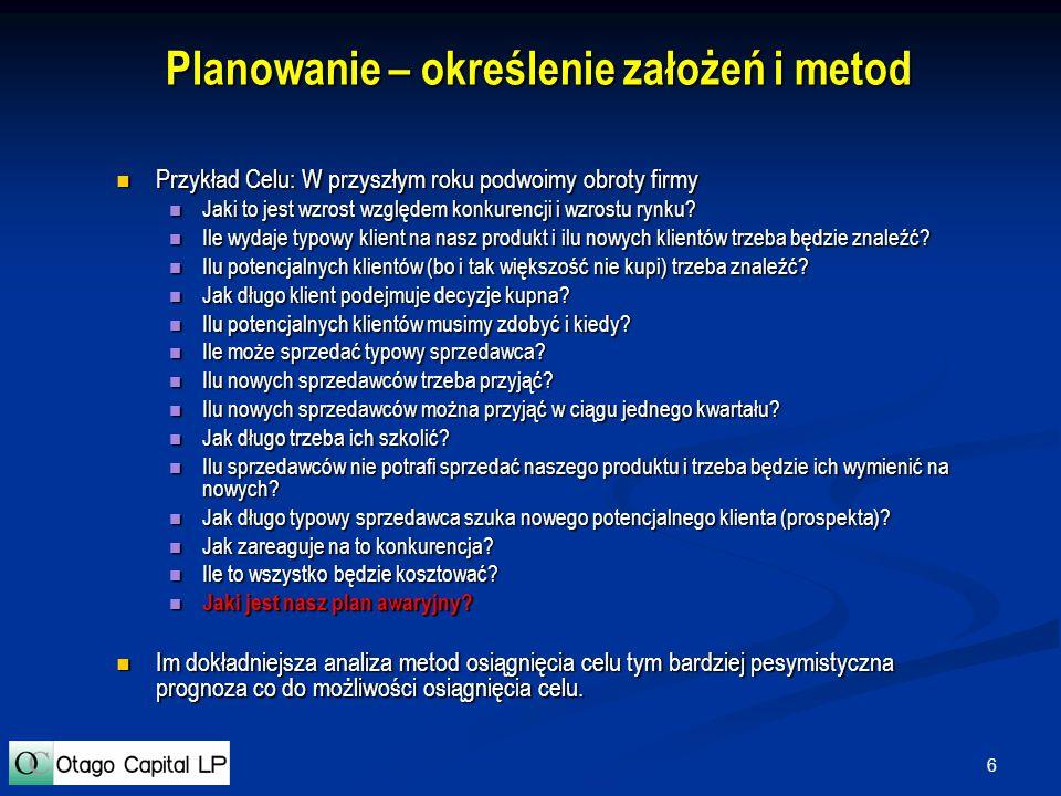 7 Planowanie – metoda i budżet Przykłady Przykład - Model finansowy firmy.