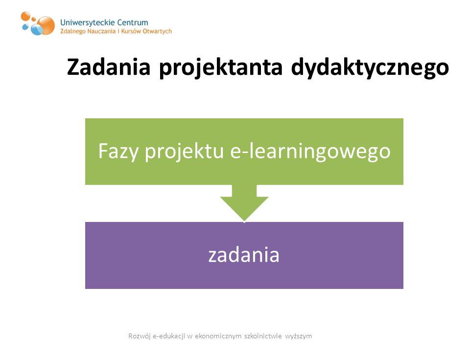 Zadania projektanta dydaktycznego zadania Fazy projektu e-learningowego Rozwój e-edukacji w ekonomicznym szkolnictwie wyższym