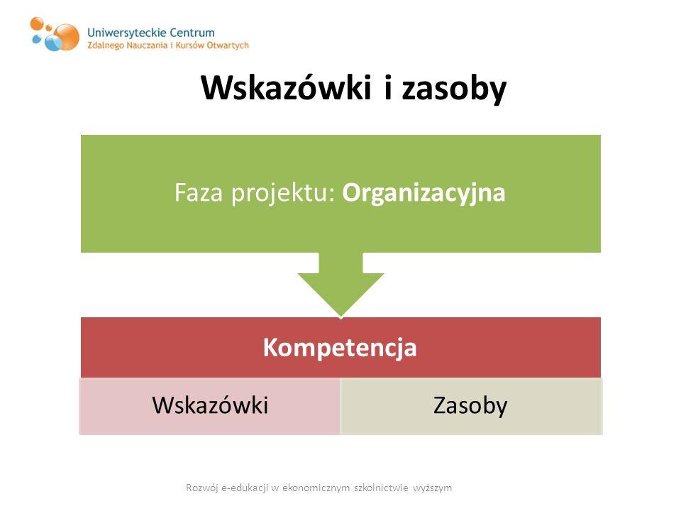 Wskazówki i zasoby Kompetencja WskazówkiZasoby Faza projektu: Organizacyjna Rozwój e-edukacji w ekonomicznym szkolnictwie wyższym