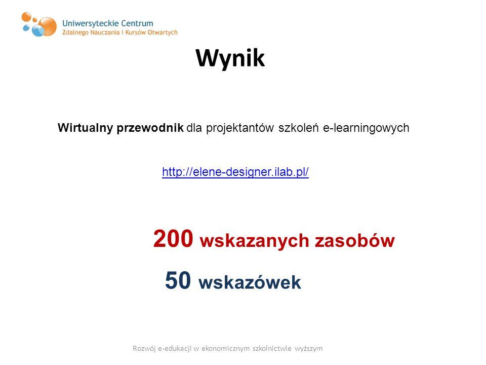 Wynik Wirtualny przewodnik dla projektantów szkoleń e-learningowych http://elene-designer.ilab.pl/ 200 wskazanych zasobów 50 wskazówek Rozwój e-edukac