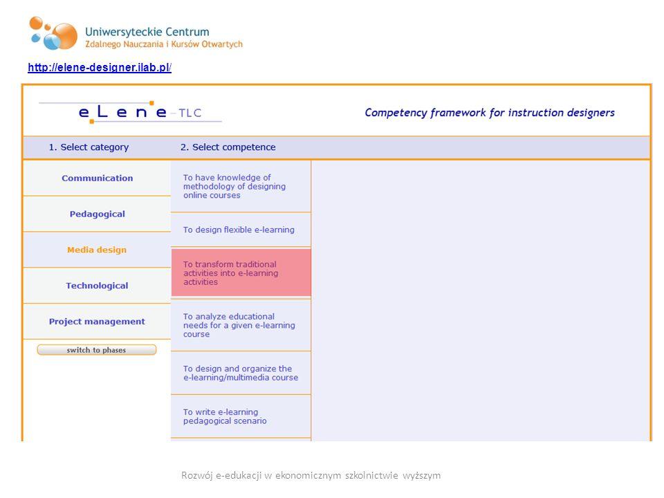 http://elene-designer.ilab.pl/ Rozwój e-edukacji w ekonomicznym szkolnictwie wyższym
