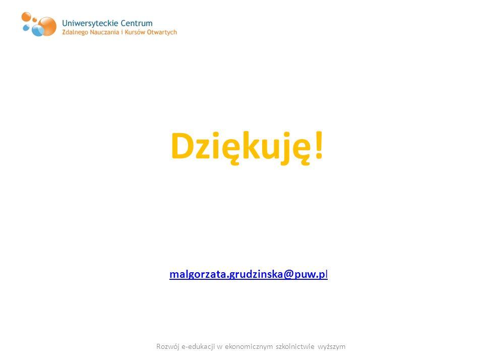 Dziękuję! malgorzata.grudzinska@puw.pl Rozwój e-edukacji w ekonomicznym szkolnictwie wyższym