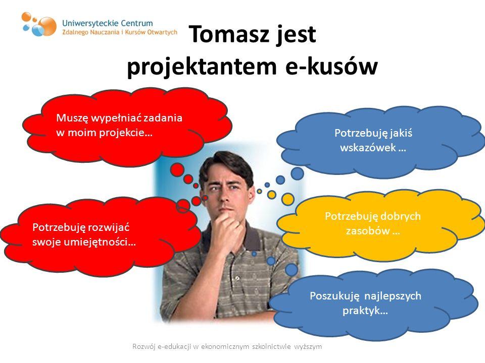 Tomasz jest projektantem e-kusów Potrzebuję jakiś wskazówek … Muszę wypełniać zadania w moim projekcie… Potrzebuję dobrych zasobów … Potrzebuję rozwij