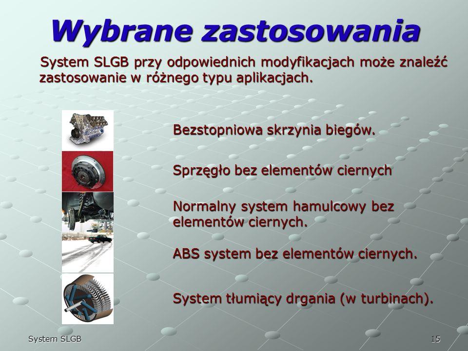 15System SLGB Wybrane zastosowania System SLGB przy odpowiednich modyfikacjach może znaleźć zastosowanie w różnego typu aplikacjach. System SLGB przy