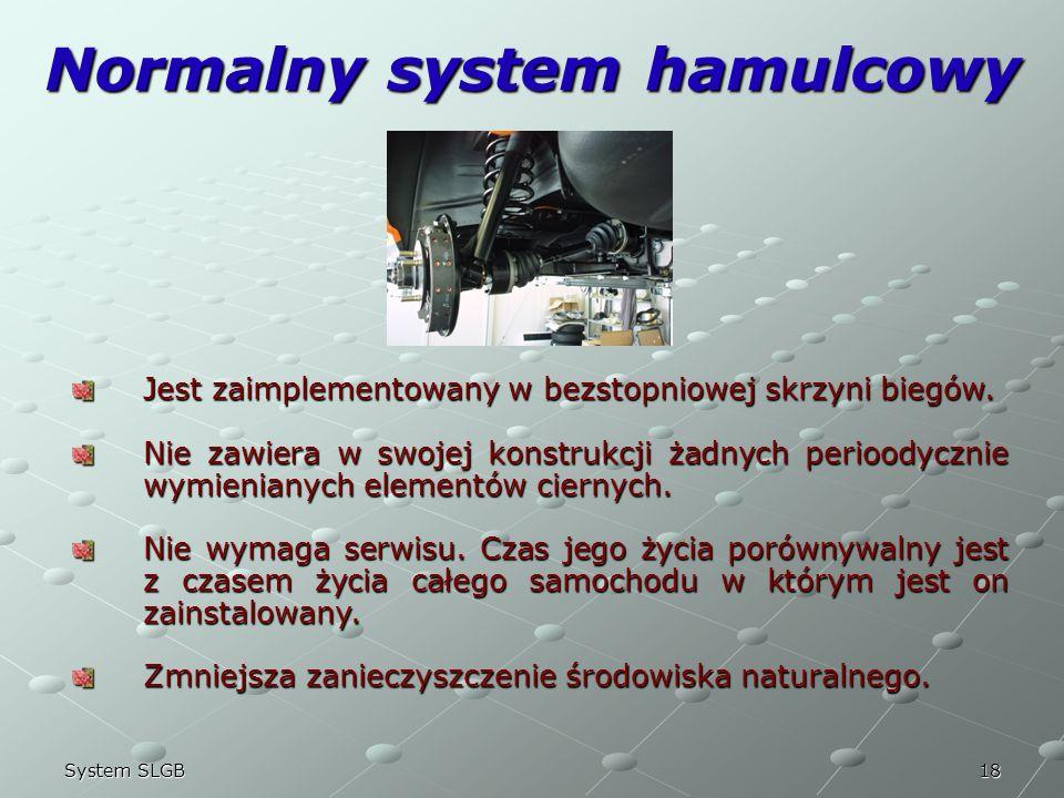 18System SLGB Normalny system hamulcowy Jest zaimplementowany w bezstopniowej skrzyni biegów. Nie zawiera w swojej konstrukcji żadnych perioodycznie w