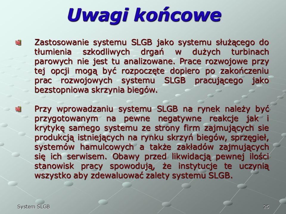 25System SLGB Uwagi końcowe Zastosowanie systemu SLGB jako systemu służącego do tłumienia szkodliwych drgań w dużych turbinach parowych nie jest tu an