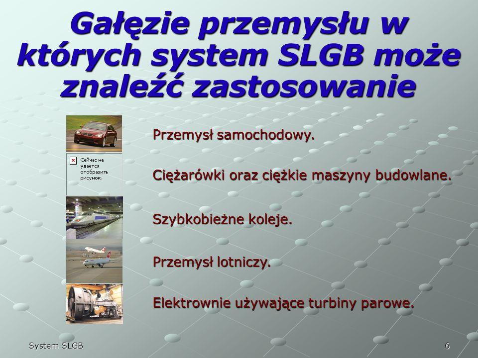 6System SLGB Gałęzie przemysłu w których system SLGB może znaleźć zastosowanie Przemysł samochodowy. Ciężarówki oraz ciężkie maszyny budowlane. Szybko