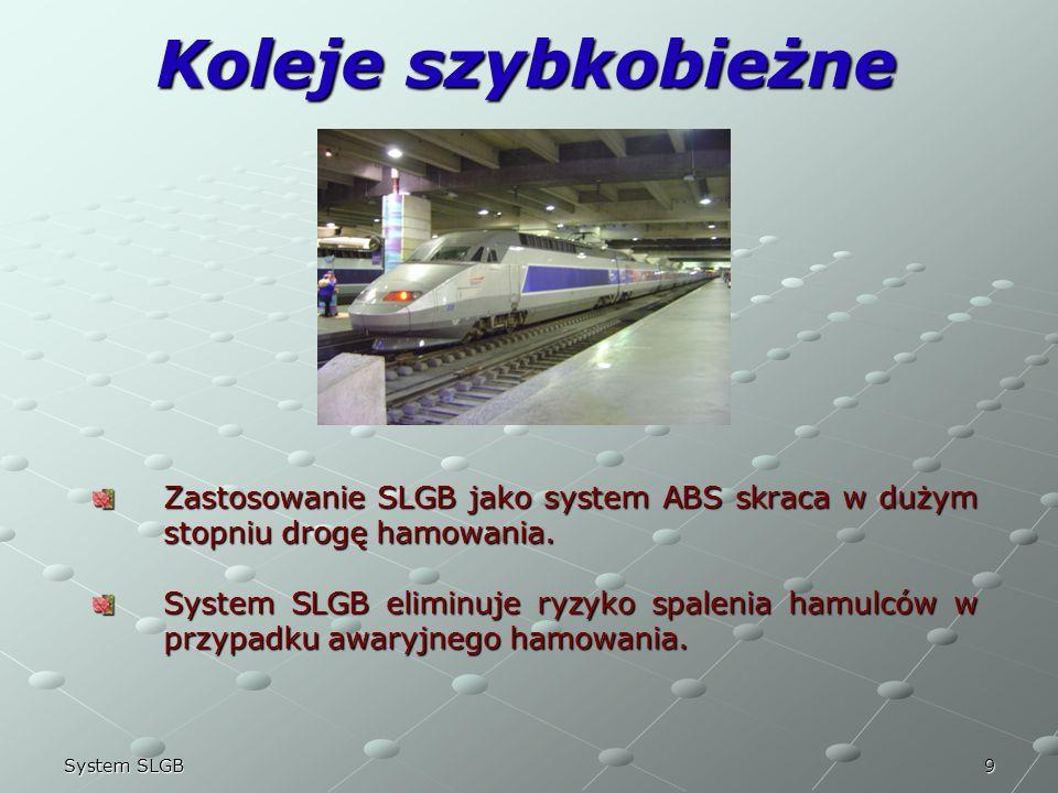9System SLGB Koleje szybkobieżne Zastosowanie SLGB jako system ABS skraca w dużym stopniu drogę hamowania. System SLGB eliminuje ryzyko spalenia hamul