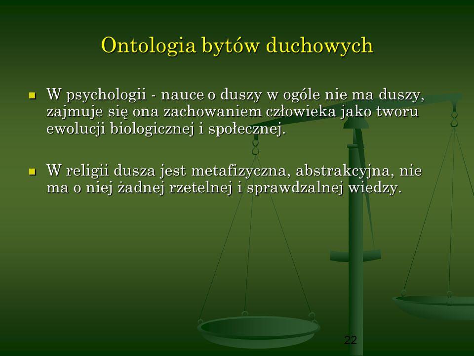 22 Ontologia bytów duchowych W psychologii - nauce o duszy w ogóle nie ma duszy, zajmuje się ona zachowaniem człowieka jako tworu ewolucji biologiczne