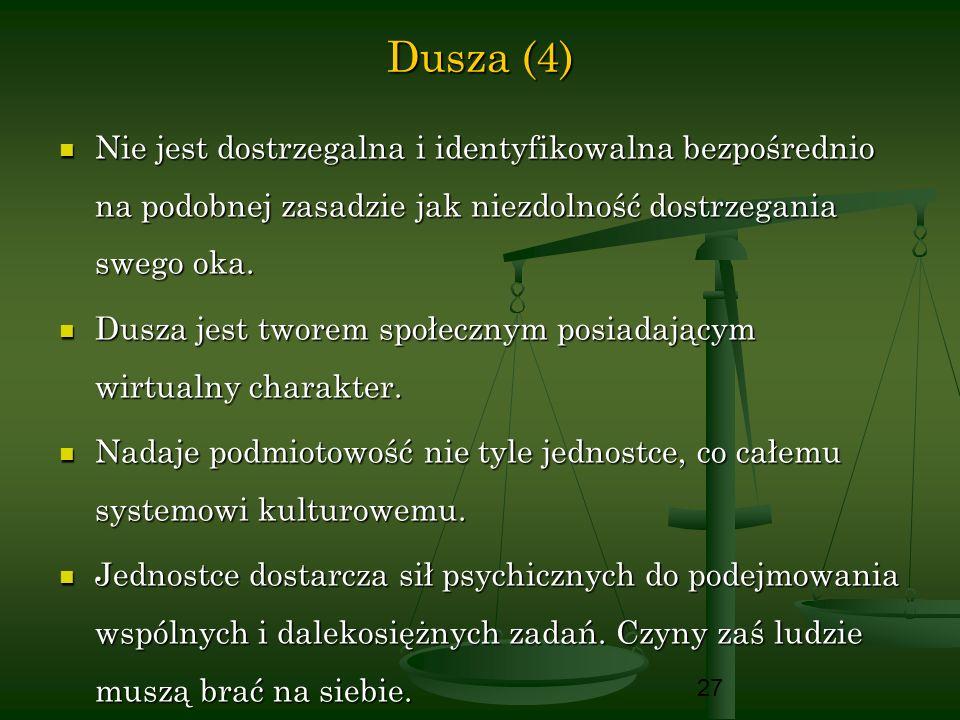 27 Dusza (4) Nie jest dostrzegalna i identyfikowalna bezpośrednio na podobnej zasadzie jak niezdolność dostrzegania swego oka. Nie jest dostrzegalna i