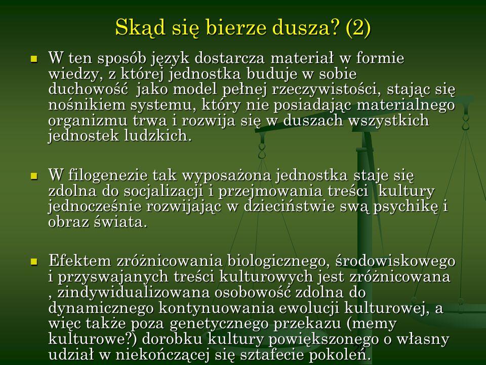 29 Skąd się bierze dusza? (2) W ten sposób język dostarcza materiał w formie wiedzy, z której jednostka buduje w sobie duchowość jako model pełnej rze