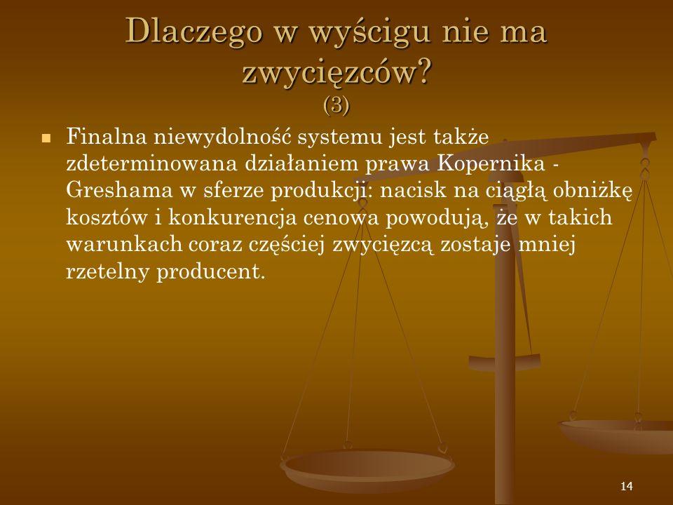 14 Dlaczego w wyścigu nie ma zwycięzców? (3) Finalna niewydolność systemu jest także zdeterminowana działaniem prawa Kopernika - Greshama w sferze pro