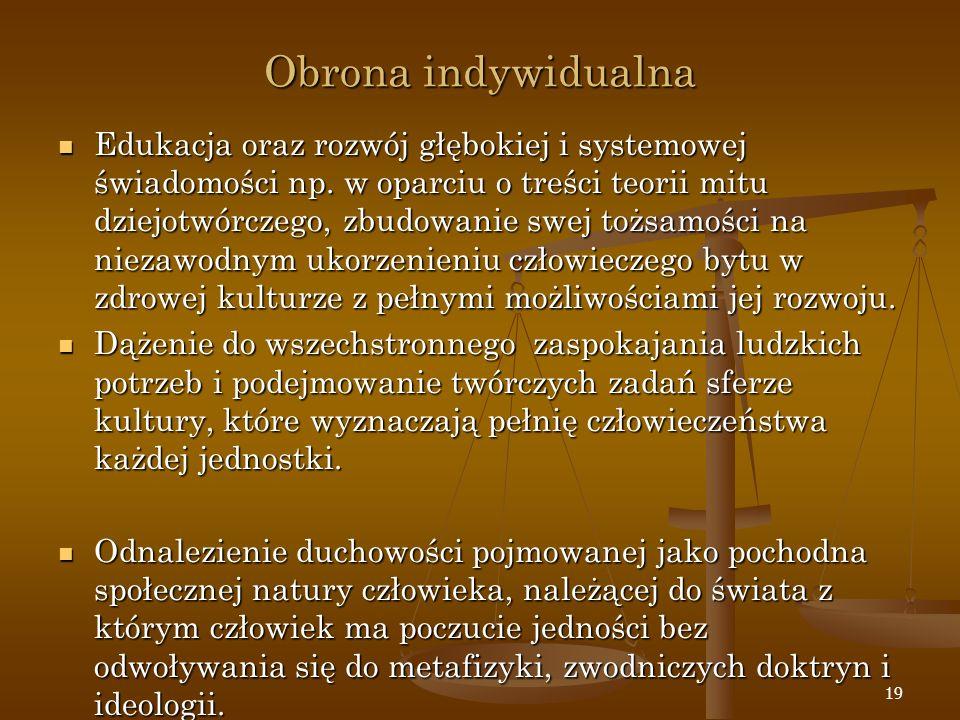 19 Obrona indywidualna Edukacja oraz rozwój głębokiej i systemowej świadomości np. w oparciu o treści teorii mitu dziejotwórczego, zbudowanie swej toż