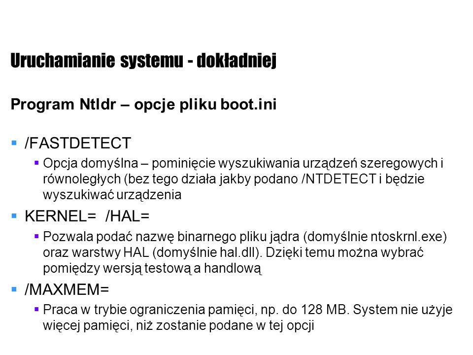 Uruchamianie systemu - dokładniej Program Ntldr – opcje pliku boot.ini /FASTDETECT Opcja domyślna – pominięcie wyszukiwania urządzeń szeregowych i rów