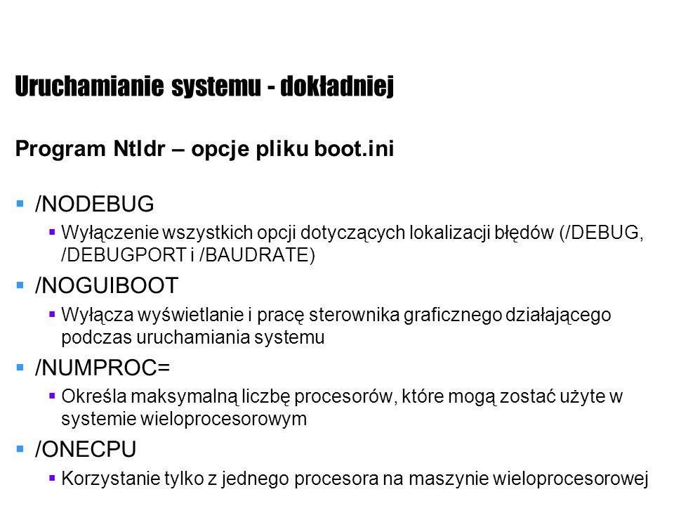 Uruchamianie systemu - dokładniej Program Ntldr – opcje pliku boot.ini /NODEBUG Wyłączenie wszystkich opcji dotyczących lokalizacji błędów (/DEBUG, /D