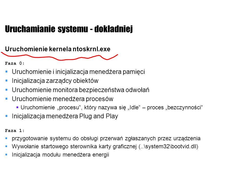 Uruchamianie systemu - dokładniej Uruchomienie kernela ntoskrnl.exe Faza 0: Uruchomienie i inicjalizacja menedżera pamięci Inicjalizacja zarządcy obie