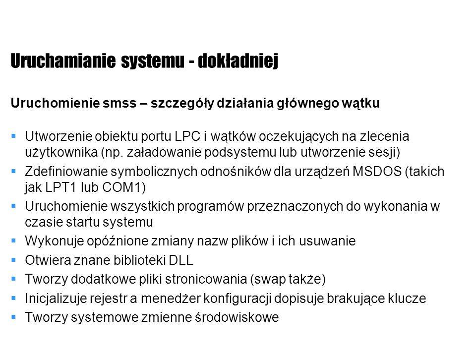Uruchamianie systemu - dokładniej Uruchomienie smss – szczegóły działania głównego wątku Utworzenie obiektu portu LPC i wątków oczekujących na zleceni