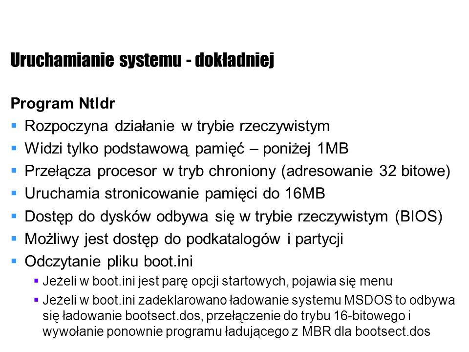 Uruchamianie systemu - dokładniej Program Ntldr Rozpoczyna działanie w trybie rzeczywistym Widzi tylko podstawową pamięć – poniżej 1MB Przełącza proce