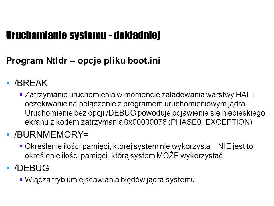 Uruchamianie systemu - dokładniej Program Ntldr – opcje pliku boot.ini /BREAK Zatrzymanie uruchomienia w momencie załadowania warstwy HAL i oczekiwani