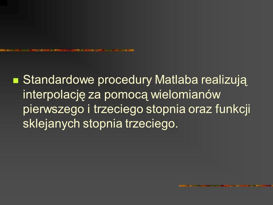Standardowe procedury Matlaba realizują interpolację za pomocą wielomianów pierwszego i trzeciego stopnia oraz funkcji sklejanych stopnia trzeciego.