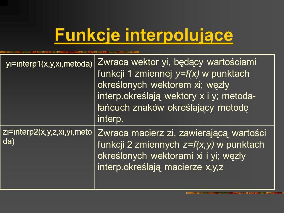 Funkcje interpolujące yi=interp1(x,y,xi,metoda) Zwraca wektor yi, będący wartościami funkcji 1 zmiennej y=f(x) w punktach określonych wektorem xi; węz