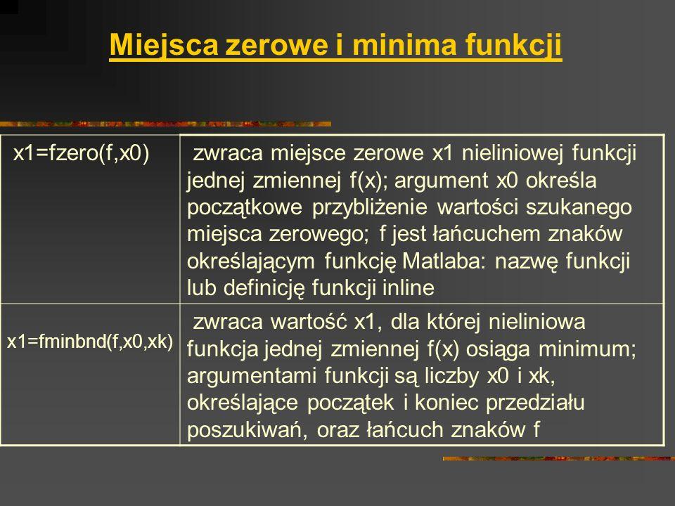 Miejsca zerowe i minima funkcji x1=fzero(f,x0) zwraca miejsce zerowe x1 nieliniowej funkcji jednej zmiennej f(x); argument x0 określa początkowe przyb
