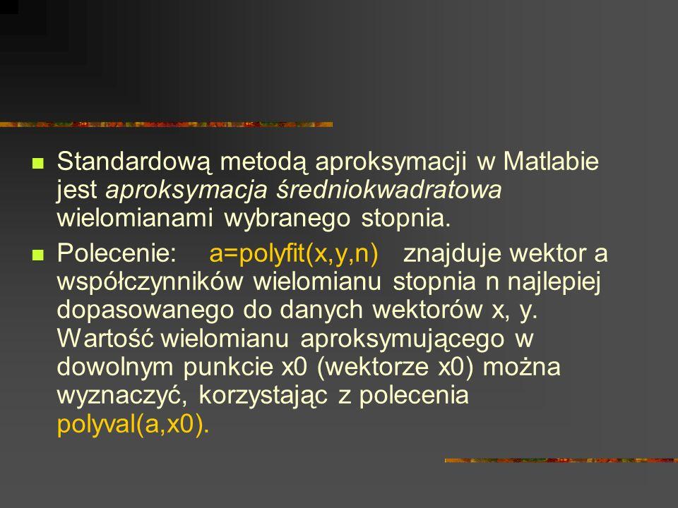 Standardową metodą aproksymacji w Matlabie jest aproksymacja średniokwadratowa wielomianami wybranego stopnia. Polecenie: a=polyfit(x,y,n) znajduje we