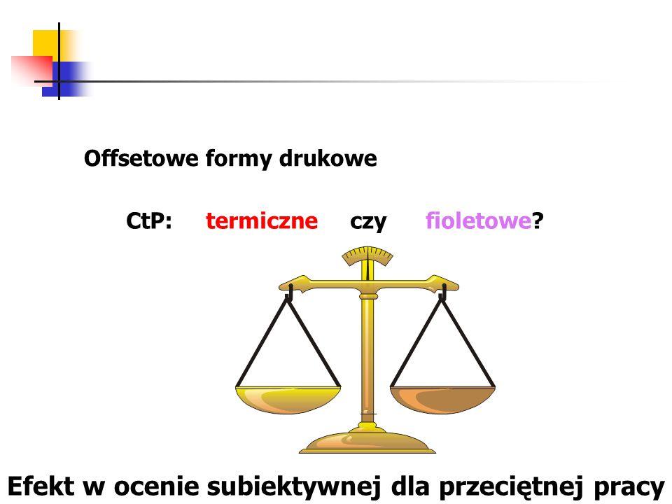 Offsetowe formy drukowe CtP: termiczne czy fioletowe? Efekt w ocenie subiektywnej dla przeciętnej pracy