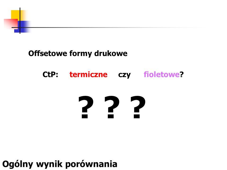 Offsetowe formy drukowe CtP: termiczne czy fioletowe? Ogólny wynik porównania ? ? ?