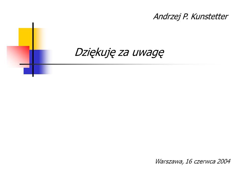Warszawa, 16 czerwca 2004 Andrzej P. Kunstetter Dziękuję za uwagę